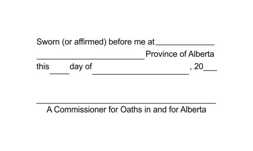 Alberta Commissioner for Oaths Statutory Declaration Stamp