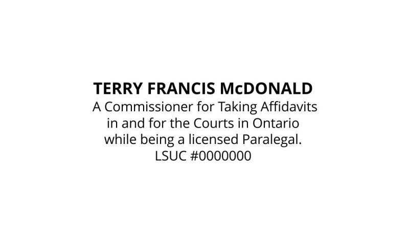 Commissioner for Oaths Ontario Paralegal Stamp