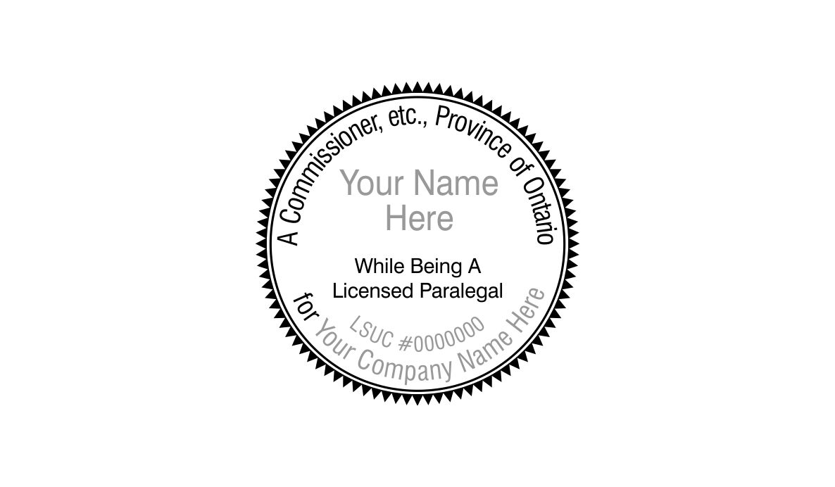 Ontario commissioner for oaths round stamp paralegal for Company stamp template