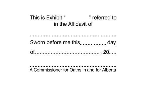 Alberta Commissioner for Oaths Exhibit Stamp 2