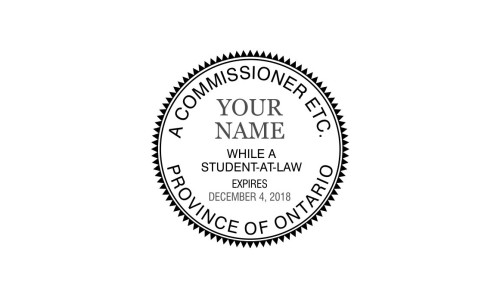 Ontario Commissioner for Oaths Student-At-Law Stamp Round