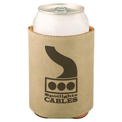 Light Brown Laserable Leatherette Beverage Holder