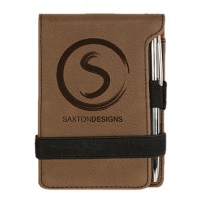 Dark Brown Laserable Leatherette Notepad with Pen