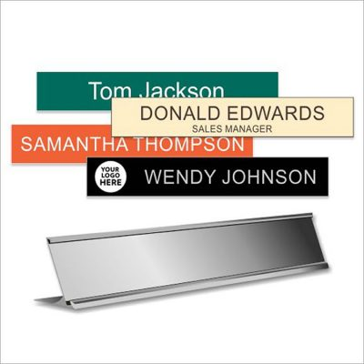 Aluminum Desk Sign Holders with Engraved Plastic Name Plates
