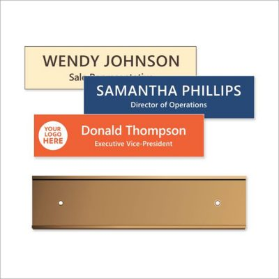 Aluminum Wall or Door Sign Holders with Engraved Plastic Name Plates