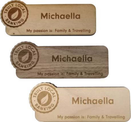 Engraved Wood Name Tags Cherry Walnut Maple