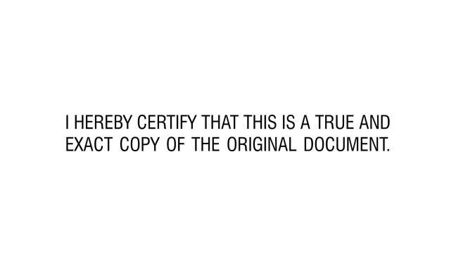 Certify True Copy Stamp