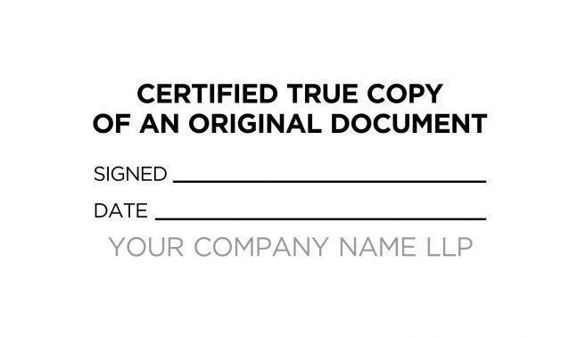 Certified True Copy Custom Stamp