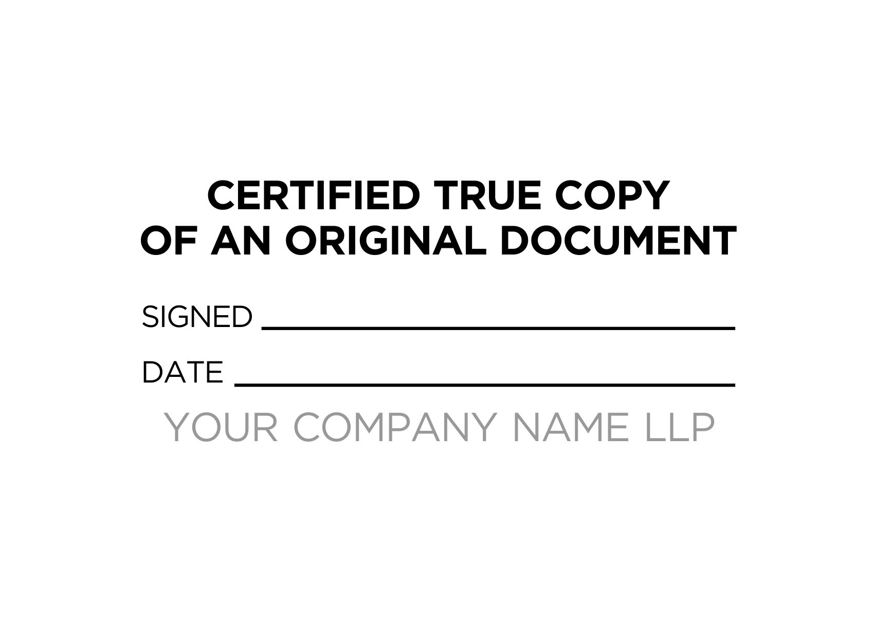 Certified True Copy Custom Stamp