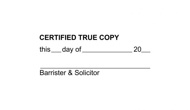 Certified True Copy Stamp